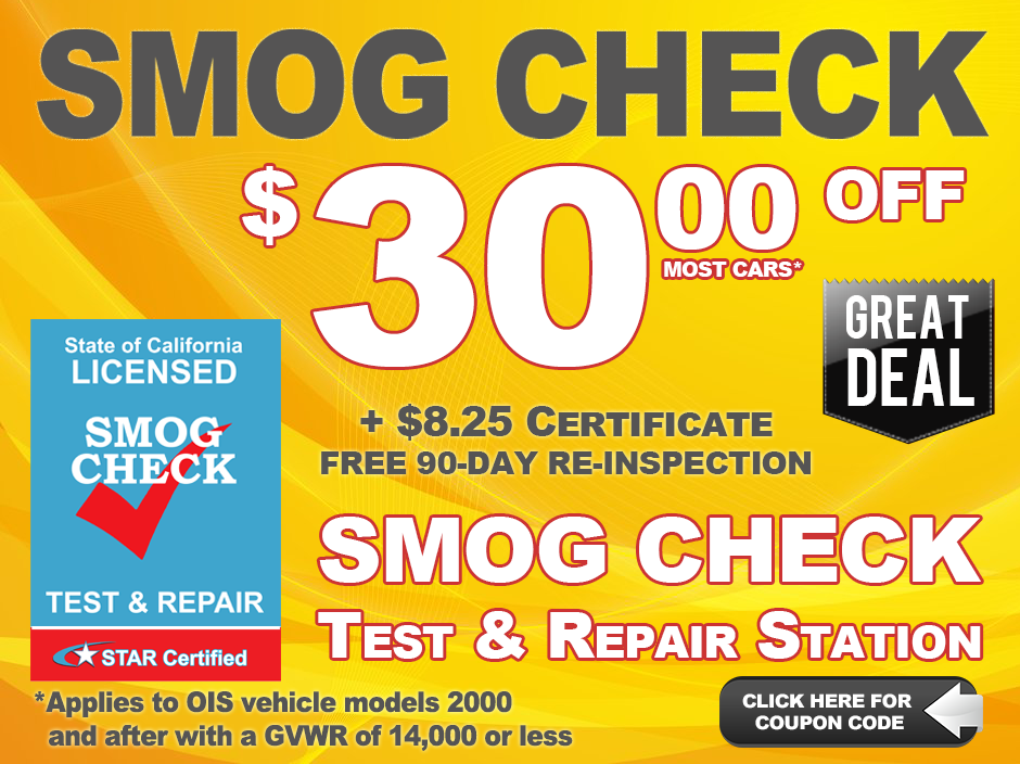 Smog Check $30 OFF, Free 90-day Re-inspection