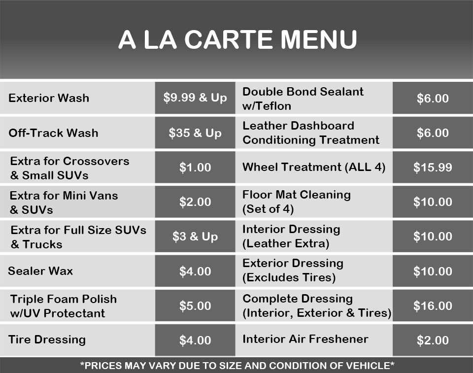 Manny's add-on Car Wash Services: Pick your perfect wash, exterior, menu