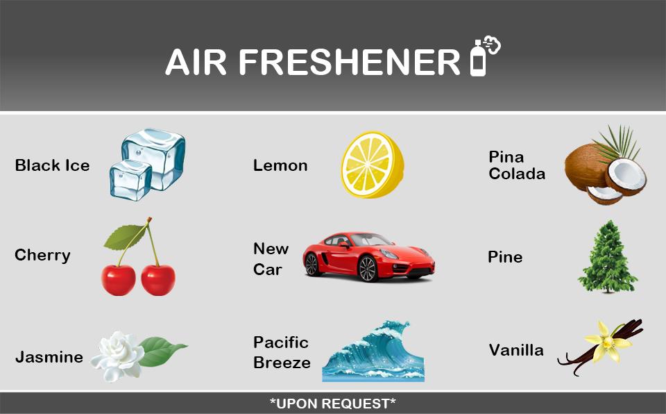 Manny's Car Wash Air Fresheners: black ice, lemon, pina colada, cherry, new car, pine, jasmine, pacific breeze, vanilla scents